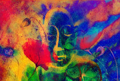 Buddha and flower, abstract background. computer. Collage painting. Religion concept Stock Illustration