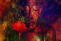 Buddha and flower, abstract background. computer Stock Photography