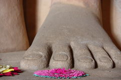 Buddha foot with floreal offerings. The closeup of a big foot of a Buddha statue in Sri Lanka. Behind it some flowers, a typical offering of the devote of Buddha Stock Photos