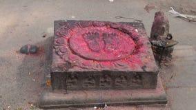 Buddha foot near Swayambhunath temple in Nepal stock video