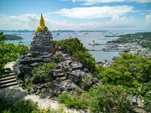 Buddha footprint view point at Sichang island is located in the Royalty Free Stock Images