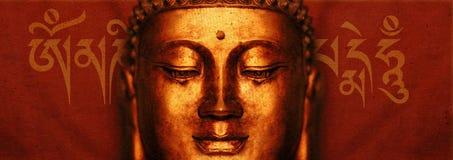 Buddha framsida med Mantra royaltyfri illustrationer