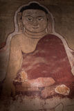 Buddha fresco on wall in Bagan temple, Myanmar. Buddha fresco in Burmese temple in Bagan Stock Image