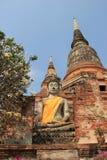 Buddha in front of Giant Pagoda at Watyaichaimongkol Temple in A. Yudhaya, Thailand Stock Photos