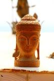 Buddha głowy pamiątka drewno indu obraz stock