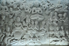 Buddha-Geschichteskulptur Stockfotografie