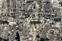 Buddha-Gesichter am Bayon Tempel Stockfotos