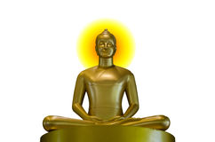 Buddha-Gold auf einem weißen Hintergrund Stockbilder