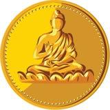 Buddha Gold Coin Medallion Retro Stock Photo
