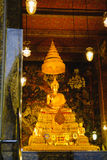 Buddha gold statue with thai art architecture in church Wat Pho Temple of the Reclining Buddha. Royalty Free Stock Photos