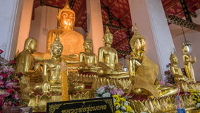Buddha gold statue and thai art architecture in Wat Arun buddhist temple in Bangkok. Stock Images