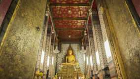 Buddha gold statue and thai art architecture in Wat Arun buddhist temple. Stock Images