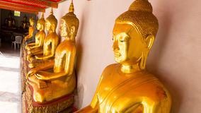 Buddha gold statue and thai art architecture in wat pho Royalty Free Stock Photo