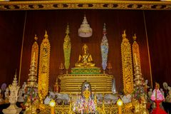 Buddha gold statue in Thailand temple buddhist wat royalty free stock photos