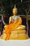 Buddha gold statue in Wat Bangkung, Ampawa, Royalty Free Stock Image