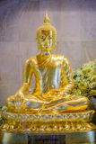 Buddha gold statues decorating the Buddhist temple. Stock Photo