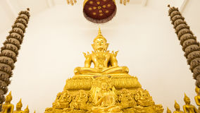 Buddha gold statues decorating the Buddhist temple Stock Photography