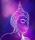 Buddha. Gold vector illustration  on black. Sketchy styl Stock Photography