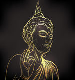 Buddha. Gold vector illustration  on black. Sketchy styl Stock Photo