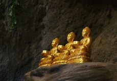 Buddha. Golden buddha in cave Thailand Stock Photos