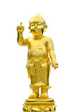 Buddha is the golden child. Closeup old brass baby buddha statue isolated on black background Royalty Free Stock Images