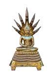 Buddha-Goldskulptur mit weißem Hintergrund Lizenzfreies Stockbild