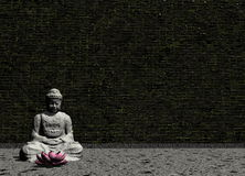 Buddha in grey room - 3D render Royalty Free Stock Photos