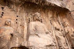 buddha grottor longmen Arkivfoto
