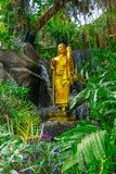 buddha guld- staty Marmortempelträdgårdar bangkok thailand Arkivbilder