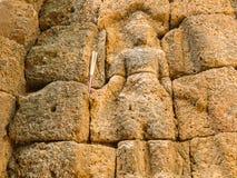 Buddha ha scolpito sulla parete Fotografie Stock