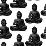 Sitting Buddha pattern. Buddha from halftone pattern - seamless monochrome black and white background Stock Illustration