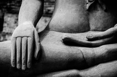 Buddha Hand and Buddha Statue at Ayutthaya city. Thailand Royalty Free Stock Photography