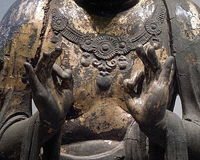 Buddha Hand Mudra. Buddha statue head detail Buddhist religion spiritual Stock Image