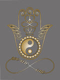 Buddha-Hand, Ying Yang-Symbol, Lotus-Blume, Unendlichkeitszeichen, Frieden und Liebessymbol Lizenzfreie Stockbilder