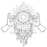 Buddha hands over sacred geometry, Metatrons Cube, Flower of lif. E. Sacred geometry abstract background. Good design for textile t-shirt print, flyer and Vector Illustration