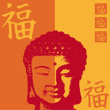 Buddha happiness. Vector Illustration with buddha head and chinese sign for happiness Royalty Free Stock Photo