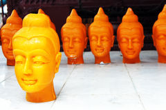 The Buddha head candles Royalty Free Stock Image