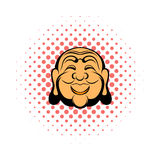 Buddha head comics icon. On a white background Royalty Free Stock Photo