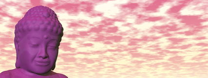 Buddha head - 3D render. Buddha head meditating in cloudy colorful sky - 3D render vector illustration