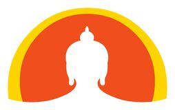 Buddha head icon and logo element. Isolated vector silhouette of Buddha Shakyamuni head with circular background. Ideal for logo or icon use Royalty Free Stock Image