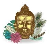 Buddha head illustration. Hand drawn vector. Buddha head with leaves and feathers. illustration. Hand drawn vector Stock Photography