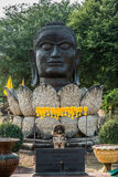 Buddha head lotus flower Wat Thammikarat temple Ayutthaya bangko Royalty Free Stock Images