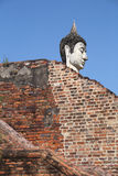 Buddha head and red brick Royalty Free Stock Photos