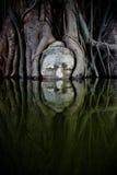buddha head sandsten Arkivfoto