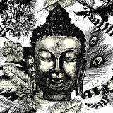 Buddha head seamless pattern black and white. Hand drawn vector. Buddha head with leaves and feathers seamless pattern. Black and white. Hand drawn vector Stock Photography