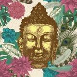 Buddha head seamless pattern. Hand drawn vector. Buddha head with leaves and feathers seamless pattern. Hand drawn vector Stock Photo