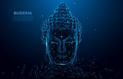 Buddha head silhouette low poly wireframe. Thai culture concept with buddha, low poly style. Vector polygonal wireframe mesh art.  royalty free illustration