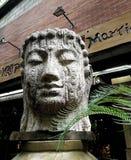 Buddha head, stone carving royalty free stock photos
