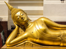 The Buddha Head in Thailand temple. Golden Buddha Stock Photography