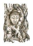 Buddha head in tree roots. Watercolor illustration. stock illustration